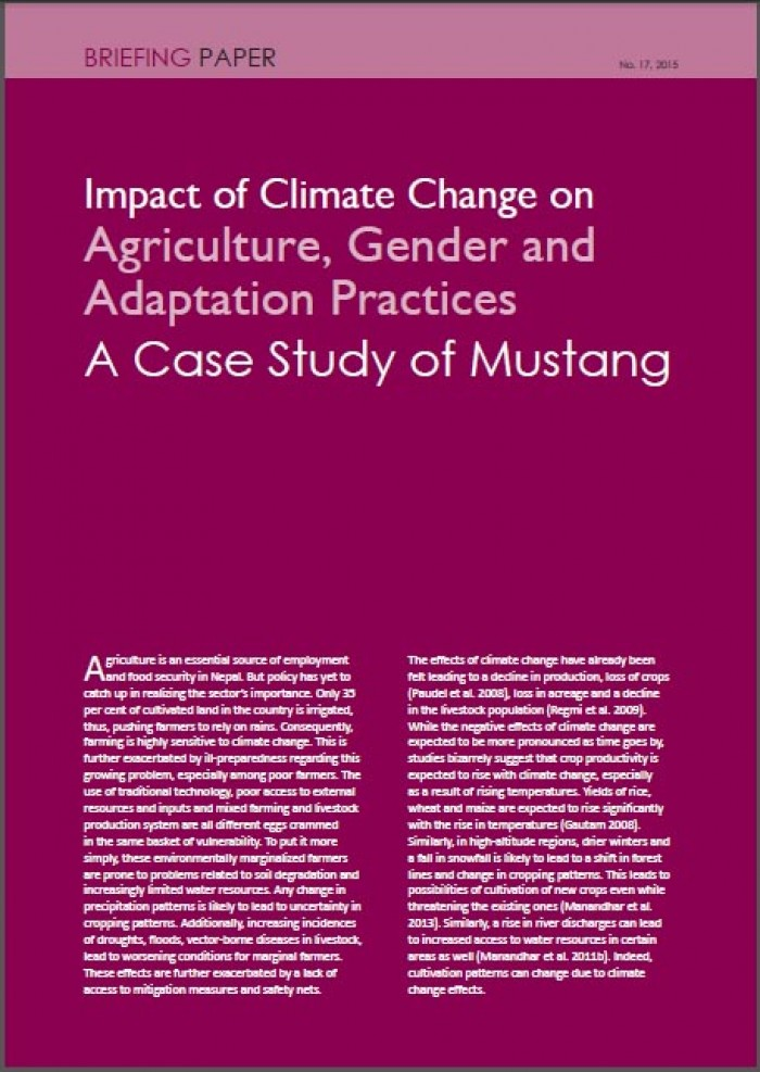 Impact of Climate Change on Agriculture, Gender and Adaptation Practices A Case Study of Mustang