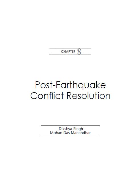 Post-Earthquake Conflict Resolution